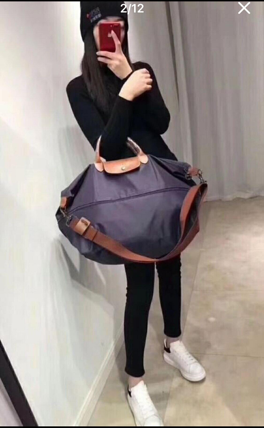 *vivi shop*法國正品1911兩用旅行包 longchamp le pliage cuir travel bag (Outlet代購)旅行袋 手提肩背包( 買二贈一6/30日止).)
