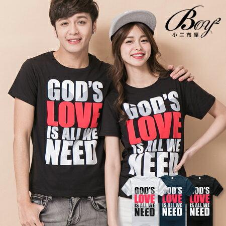 ☆BOY-2☆【JN7553】情侶休閒GOD'S LOVE文字短袖T恤 0