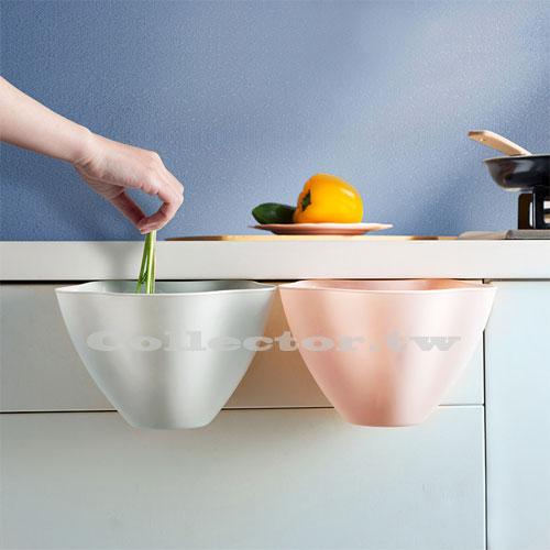 【N17092003】廚房櫥櫃可掛式花朵型垃圾桶 家用無蓋塑料收納盒 垃圾雜物簍
