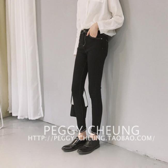 50^%OFF~G018748P~褲腳小刺繡明線裝飾褲腳翻邊彈力緊身小腳褲牛仔鉛筆褲實價