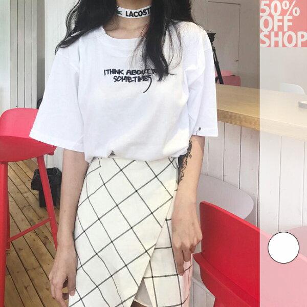 50%OFFSHOP韓版復古圓環字母短袖T恤寬鬆女上衣(1色)【G035621C】