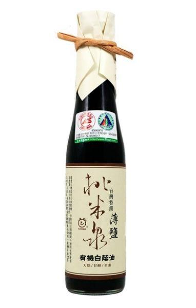 鏡感樂活市集 甘寶 桃米泉有機白蔭油(薄鹽) 410ml/ 瓶