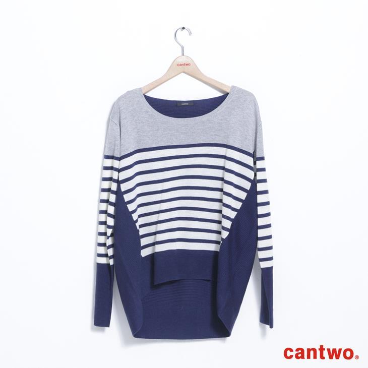 cantwo條紋拼接長袖針織上衣(共二色) 6