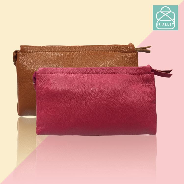 側背包 質感真皮萬用小包 素面簡約款手拿包 手機包 零錢包 89.Alley ☀9色