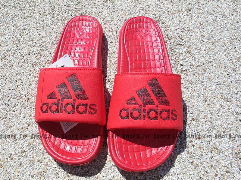 Shoestw【S80407】ADIDAS VOLOOMIX SLIDE 拖鞋 紅黑 大LOGO 男生尺寸 1