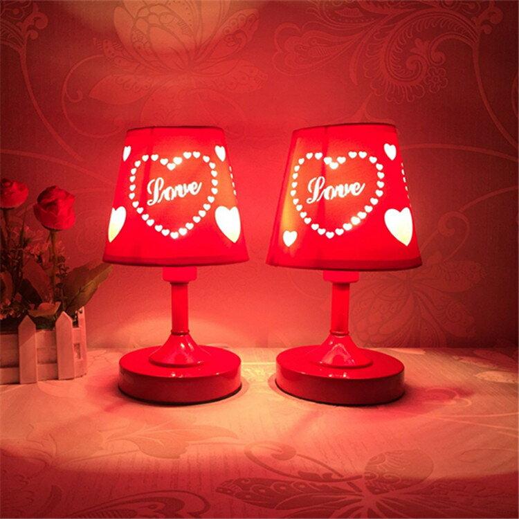 臥室床頭小夜燈紅色雙喜結婚慶小檯燈現代簡約新婚房交換禮物裝飾  新年鉅惠 台灣現貨
