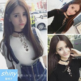 【V0476】shiny藍格子-微甜春心.百搭修身小性感胸口綁帶五分袖上衣