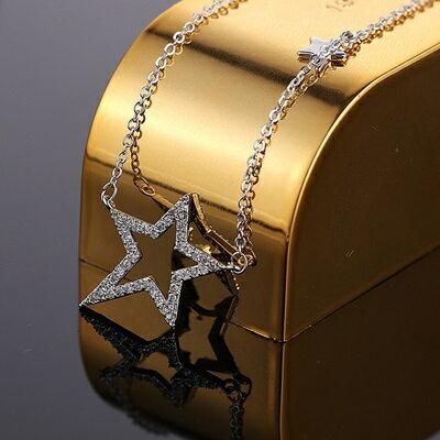 玫瑰金項鍊 鑲鑽純銀吊墜 ~ 小星星精美七夕情人節 女飾品2色73dw144~ ~~米蘭