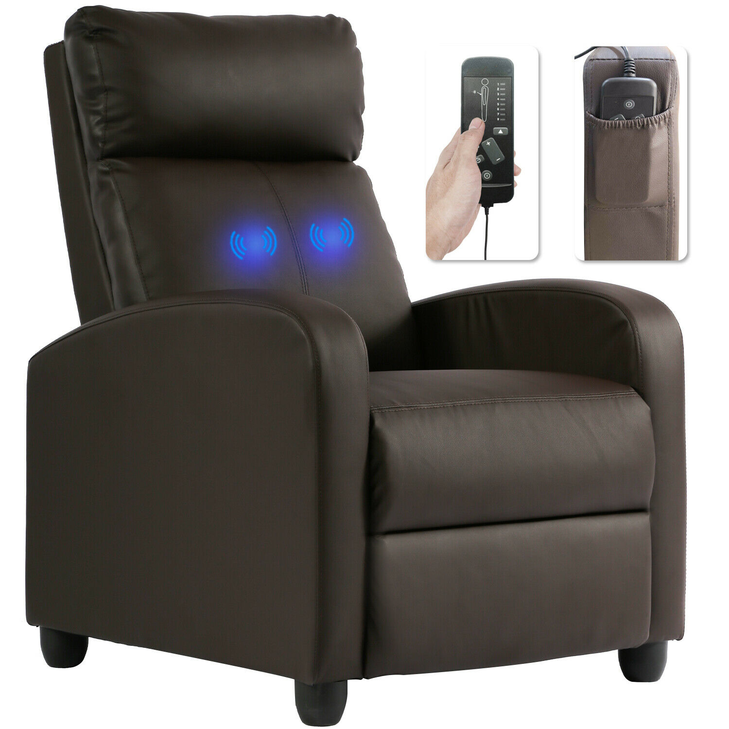 Recliner Chair for Living Room Massage Recliner Sofa Single Sofa Home  Theater Seating Reading Chair Winback Modern Reclining Chair Easy Lounge  with PU ...