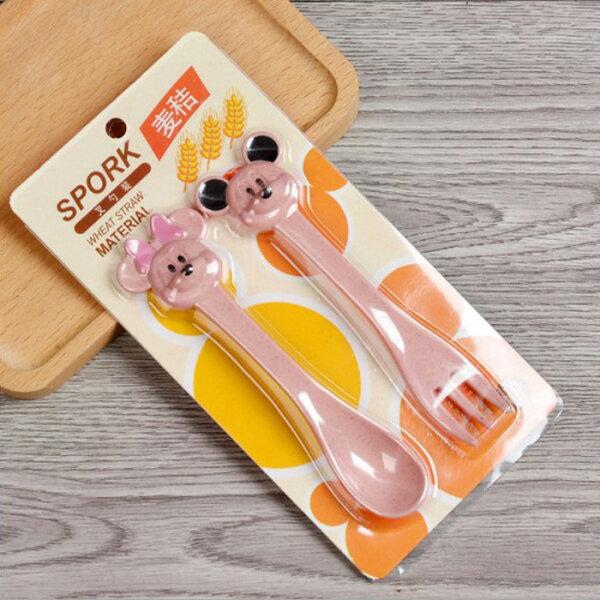 糖衣子輕鬆購【DZ0412】小麥秸稈米妮湯匙叉子兒童餐具組動物造型餐具組堅韌材質動物造型湯匙+叉子