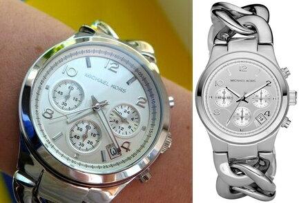 【Cadiz】美國真品正品Michael Kors銀色三眼鍊錶 [MK3149/ Chronograph Chain Bracelet / 代購/ 現貨]