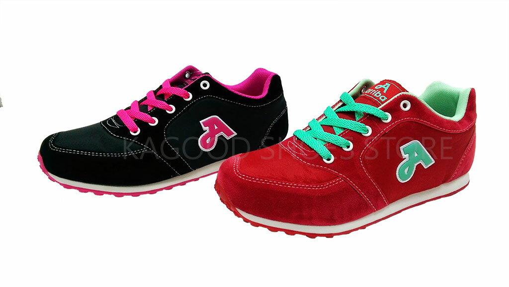 Arriba AB-7048 慢跑鞋 休閒鞋 紅 / 黑 色 女款