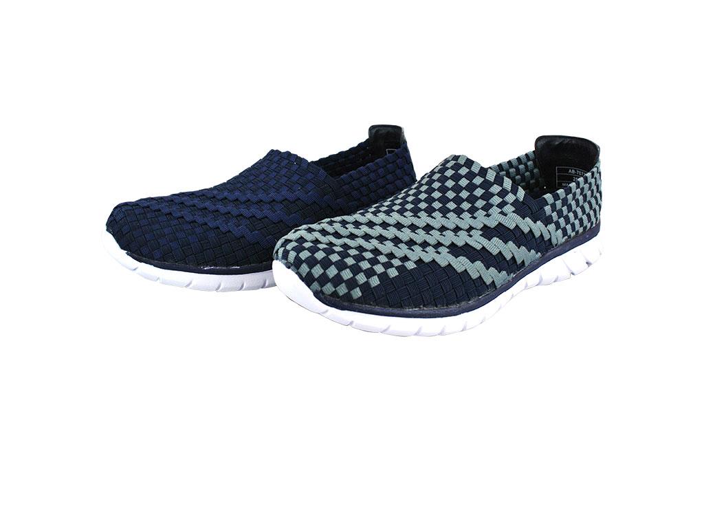 Arriba AB~7073 編織鞋面 休閒鞋 懶人鞋 便鞋 灰藍 藍色款 男鞋