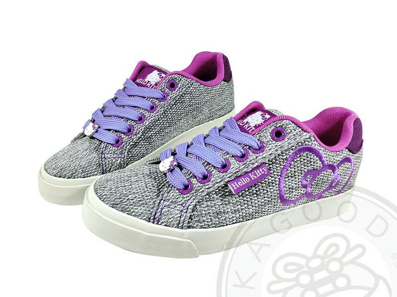 HELLO KITTY 凱蒂貓 910740 蝴蝶結 休閒板鞋 紅&灰紫色款