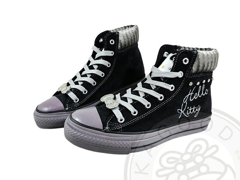 HELLO KITTY 凱蒂貓 910743 搖滾風 水鑽 高筒 帆布鞋 黑&紅&桃色款