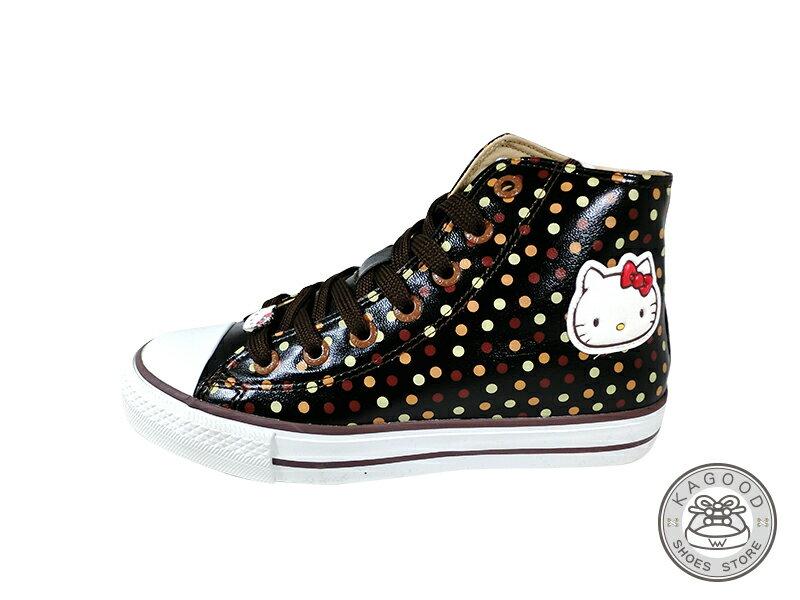 HELLO KITTY 凱蒂貓 913007 滿版復古點點風 內增高 高筒帆布鞋 黑色款