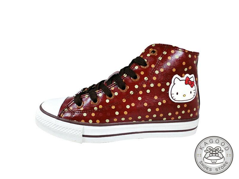 HELLO KITTY 凱蒂貓 913007 滿版復古點點風 內增高 高筒帆布鞋 酒紅色款