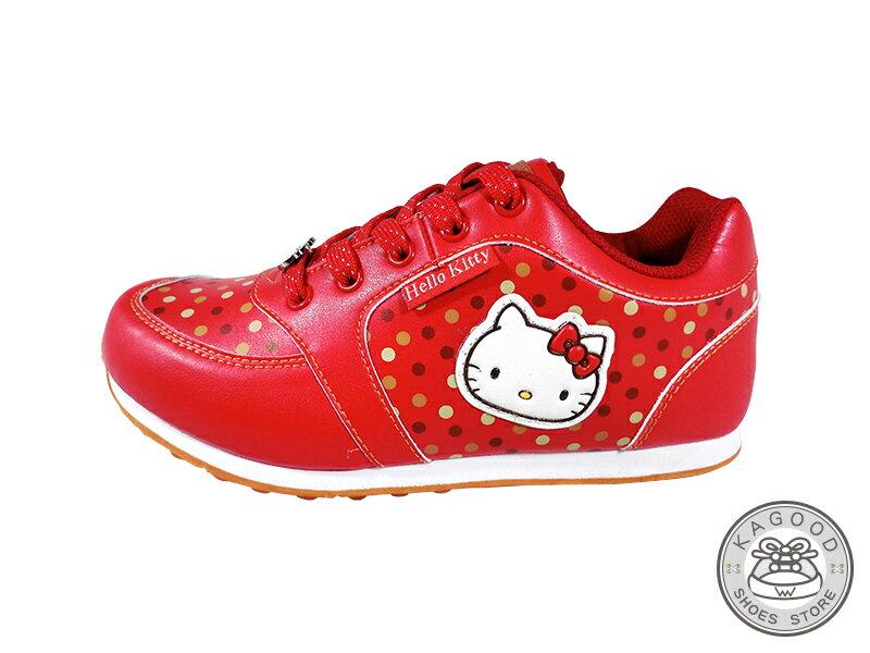 HELLO KITTY 凱蒂貓 913017 復古點點 慢跑鞋 休閒鞋 紅色款