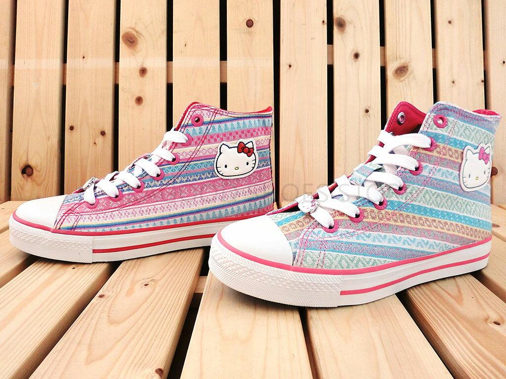 HELLO KITTY 凱蒂貓 914141 民俗風 高筒 帆布鞋 休閒鞋 (水 / 粉色)