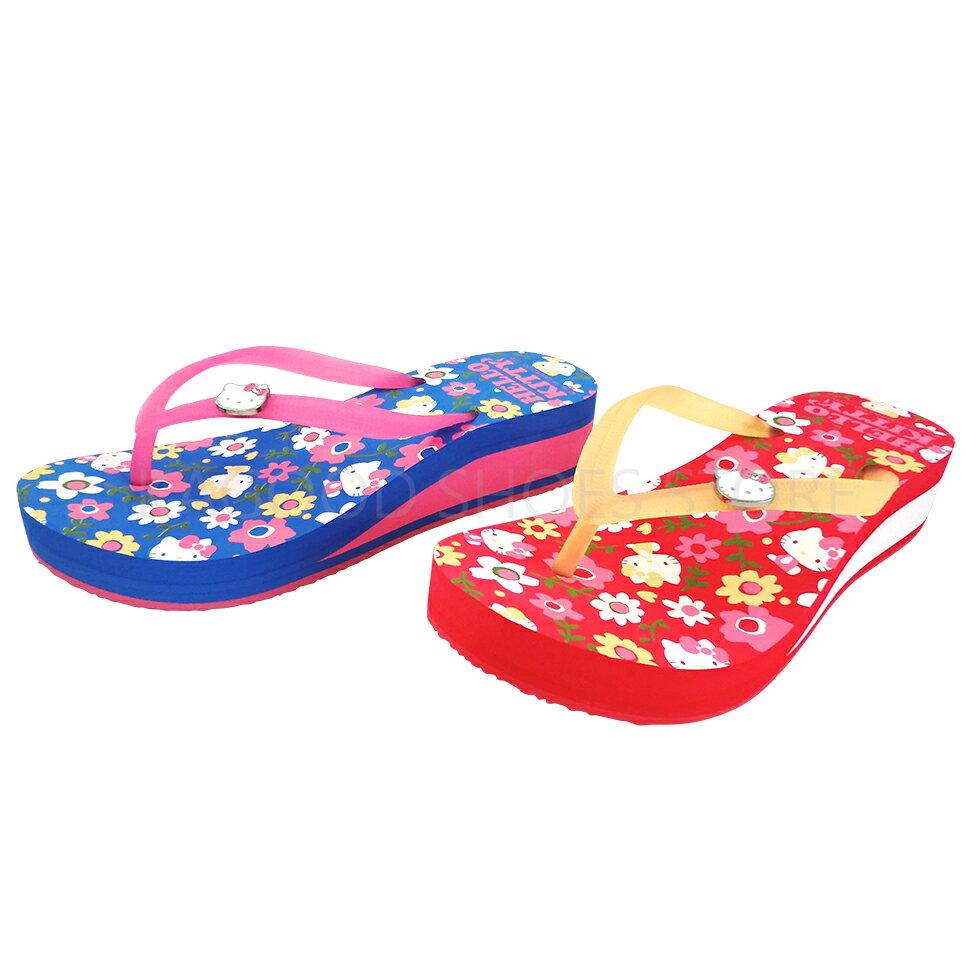 HELLO KITTY 凱蒂貓 915025 花朵 厚底拖鞋 中低跟拖鞋 夾腳拖 人字拖