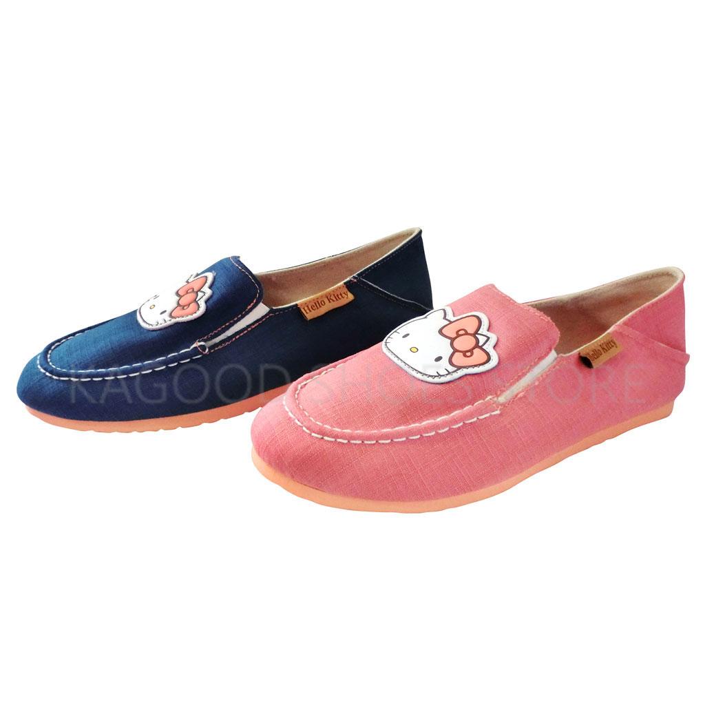 HELLO KITTY 凱蒂貓 915037 素色 基本款 牛仔風 帆布鞋 (粉 / 藍色)