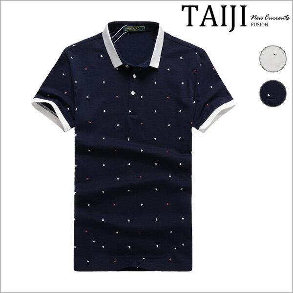 短袖POLO衫‧滿版小三角撞色滾邊短袖POLO衫‧二色【ND31876】-TAIJI-