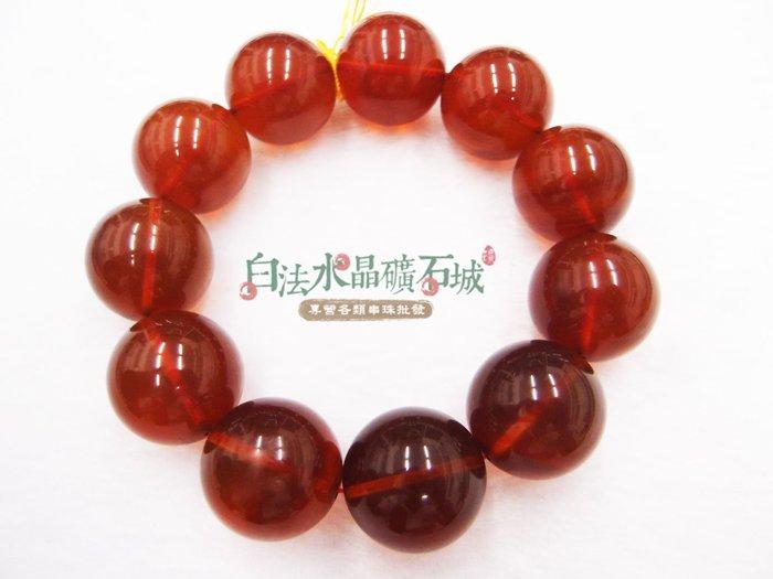 白法水晶礦石城 緬甸-天然 琥珀 棕紅色 棕紅珀 21mm 手鍊 編號1