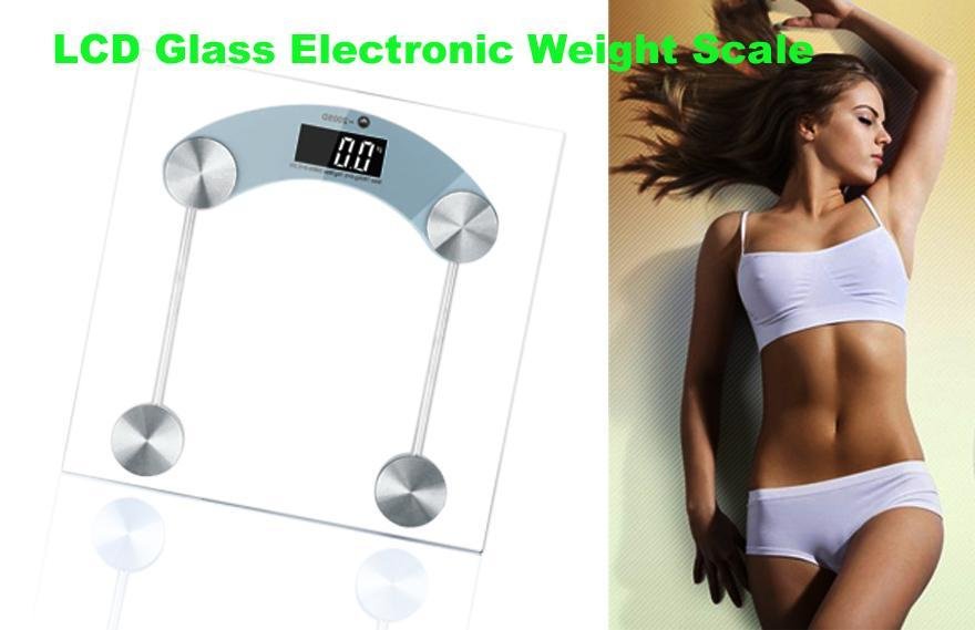 Digital LCD Glass Electronic Weight Body Bathroom Health Square Scale 330lb/150kg 1