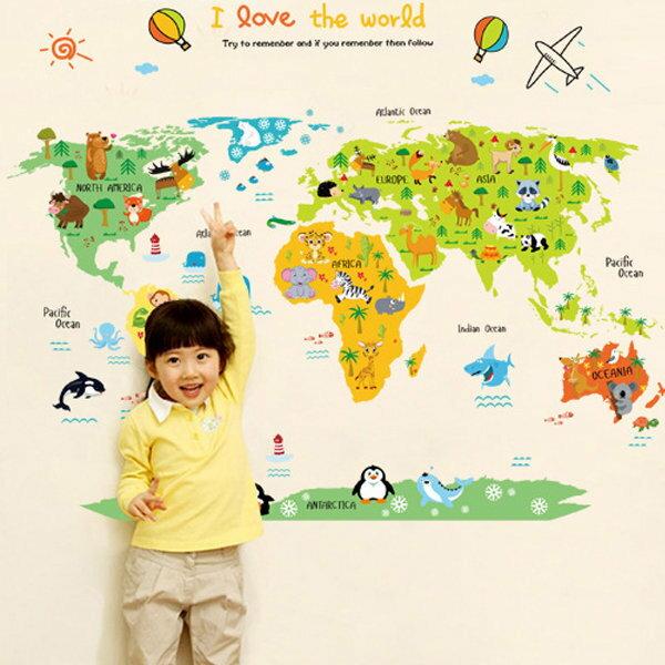 BO雜貨【YV0584】DIY可重複貼 時尚壁貼 牆貼壁紙 壁貼紙 創意璧貼 彩色 世界地圖ABC1049