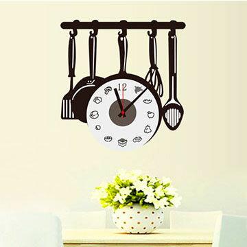 WallFree窩自在 韓版-新款DIY創意壁貼時鐘 SA-1-006料理總舖師(附靜音機芯)
