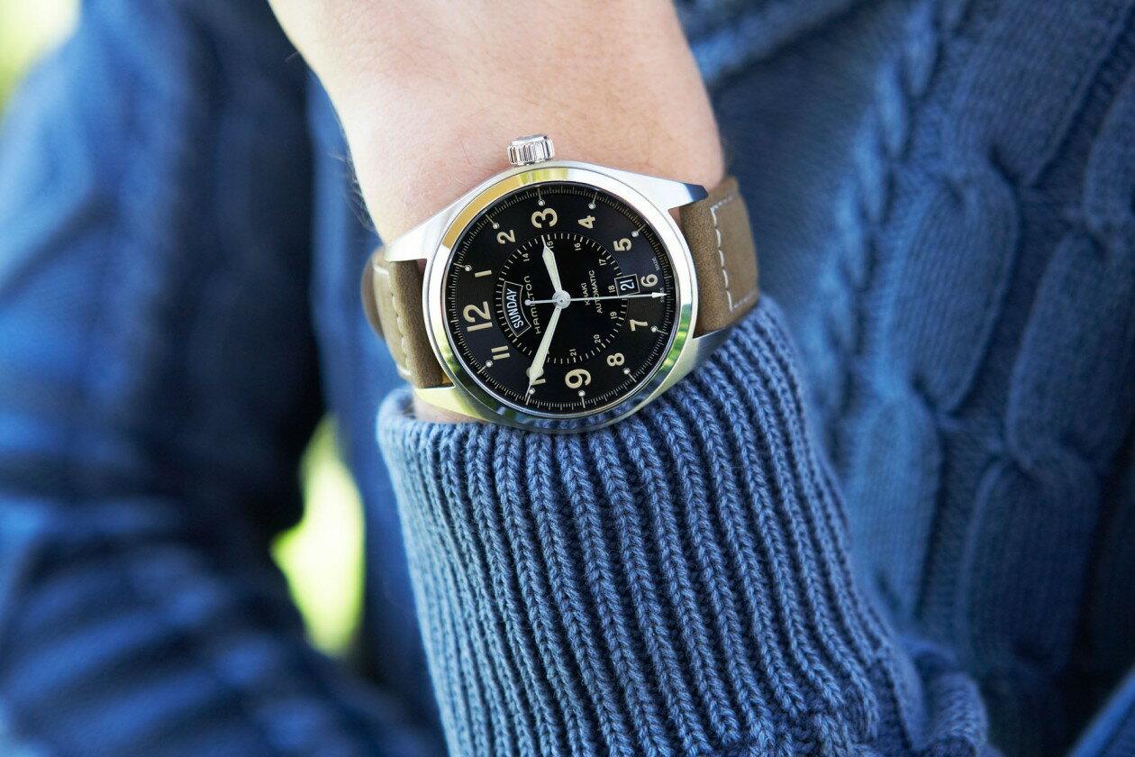 Hamilton 漢米爾頓 KHAKI FIELD 卡其陸戰DAY DATE機械腕錶 H70505833卡其/42mm