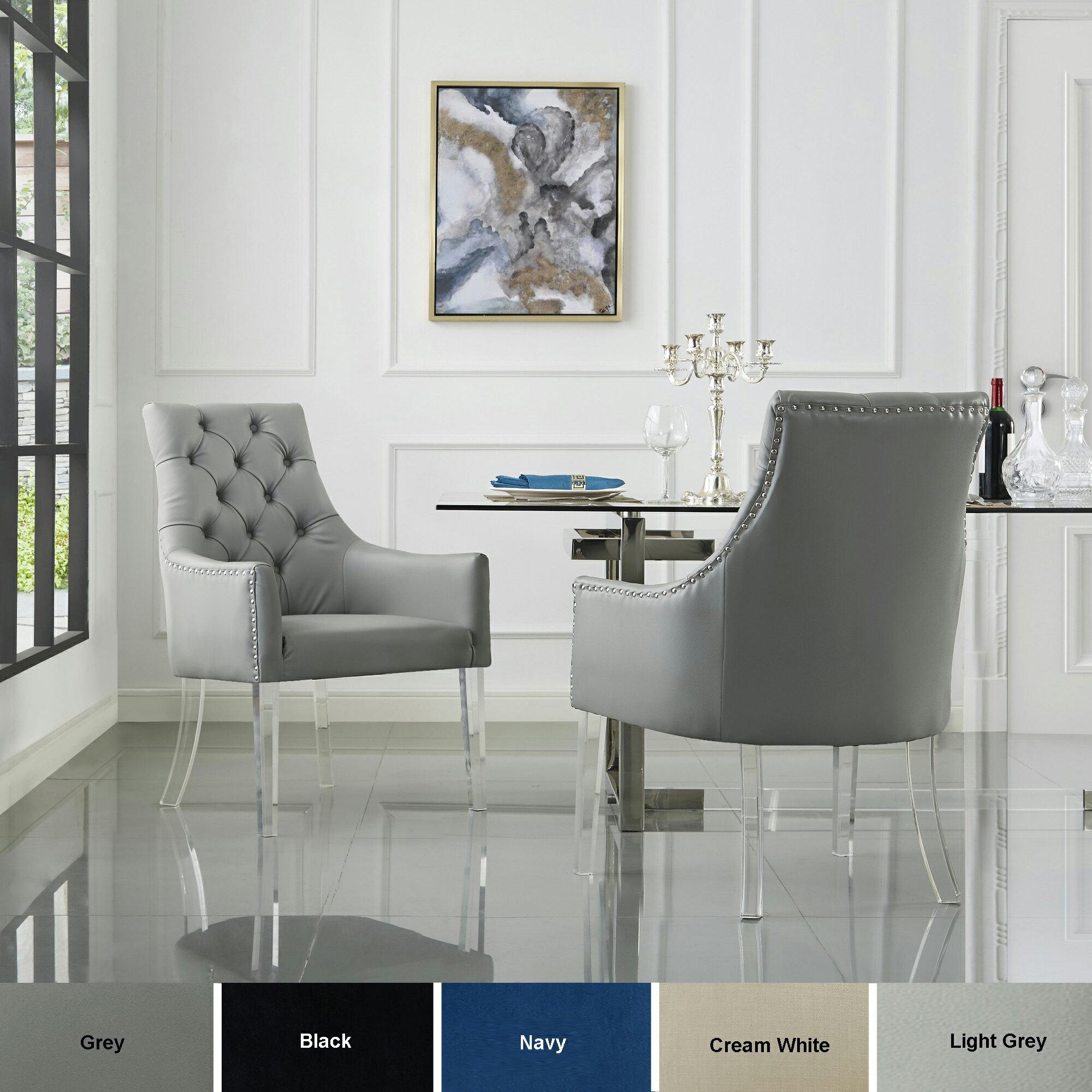 Natalie Upholstered Dining Chair Set Of 2 Velvet Linen Or Pu Leather