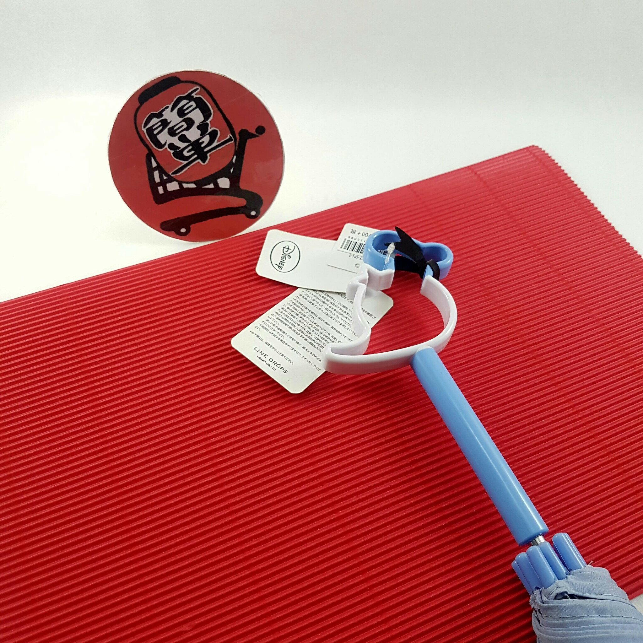 『簡?全球購』淺柄藍條紋唐老鴨款 日本 迪士尼 唐老鴨鏤空造型把手 透明直傘 雨傘