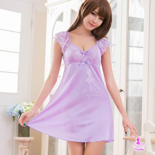 <br/><br/>  愛的蔓延 甜美紫羅蘭小蓋袖柔緞睡衣 性感睡衣 NA16020052<br/><br/>