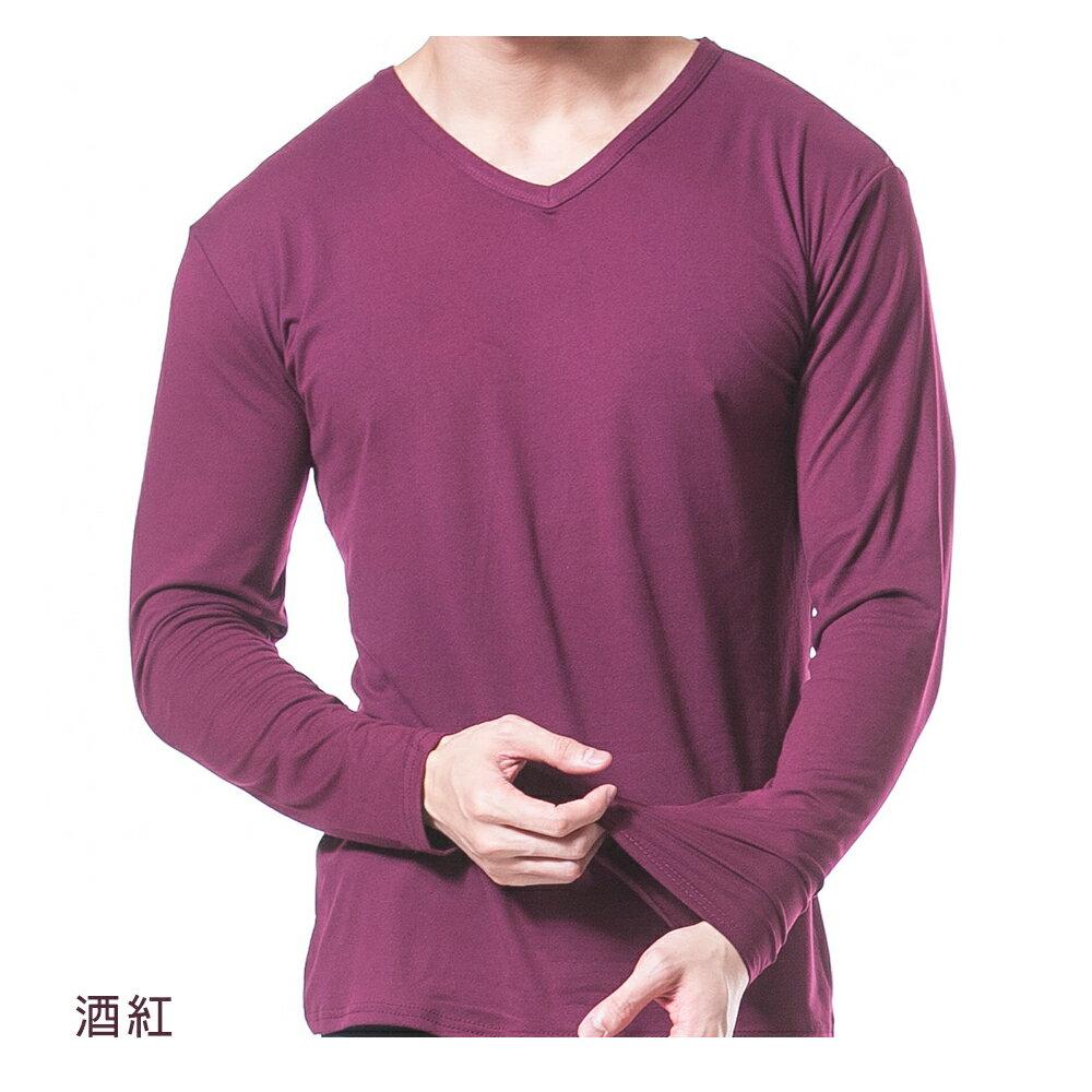 男保暖長袖上衣-輕摩毛系列-V領-酒紅-1件