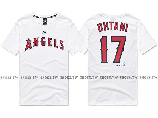 Shoestw【6760217-800】MLB美國大聯盟MAJESTIC短袖棉T恤洛杉磯天使隊LOGO大谷翔平OHTANI背號T白色