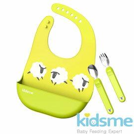 【圍兜x1+湯匙x1+叉子x1】Kidsme-萌寶食具套裝組(黃綠色)+368元