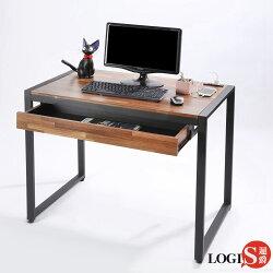 促銷下殺!!!LOGIS  耐磨工業風桌面附插座工作桌辦公桌 電腦桌 餐桌(長98寬60x高77公分) 【MK-98】