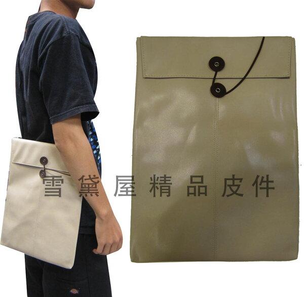 ~雪黛屋~Kawasaki平板滑鼠墊套10平板套台灣製造品質保證護套滑鼠墊組可放A4紙防水皮革附長背帶HOEM046