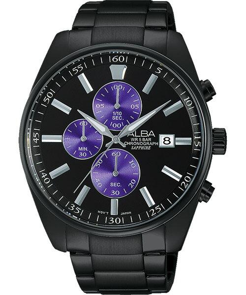 ALBA VD57-X059SD(AM3247X1)東京紫三環時尚腕錶/黑面43mm