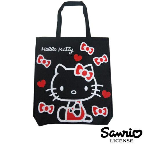 黑色款【日本正版】HelloKitty 凱蒂貓 帆布 托特包 肩揹包 帆布包 三麗鷗 Sanrio - 102879