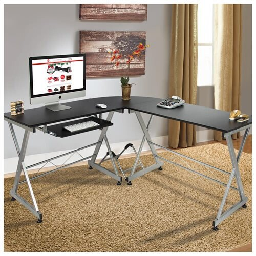L Shape Wooden Corner Computer Desk Pc Laptop Table Workstation Home Office Black 0