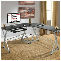 L-Shape Wooden Corner Computer Desk PC Laptop Table Workstation Home Office Black