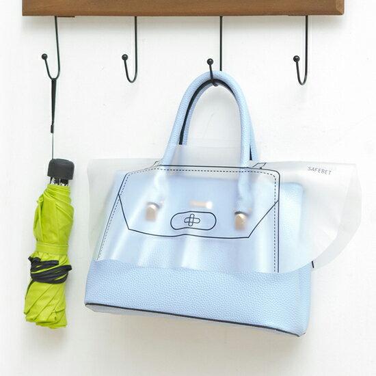 ?MY COLOR?手提包款防雨罩(中號) 防水 防塵 逛街 收納 雨衣 帶孔 透明 耐磨 便攜 套取【F49】