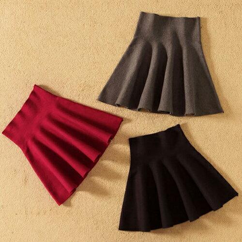 圓裙 - 鬆緊高腰針織傘裙  /  短裙《6色》藍色巴黎【23251 】 4
