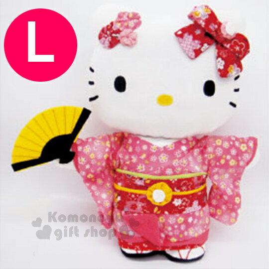 〔小禮堂〕Hello Kitty 造型絨毛玩偶娃娃《L.站姿.粉和服.拿扇》葉朗彩彩