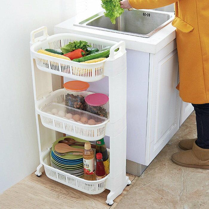 廚房收納推車 瀝水籃 洗菜籃 蔬果籃 碗筷餐具架 萬用置物車【YV7884】快樂生活網