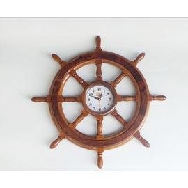 單個 越南花梨木實木靜音電子墻上掛鐘 紅木船舵型鐘表工藝品擺件