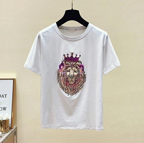 *ORead*韓版短袖圓領亮片刺繡T恤(3色M~2XL) 2
