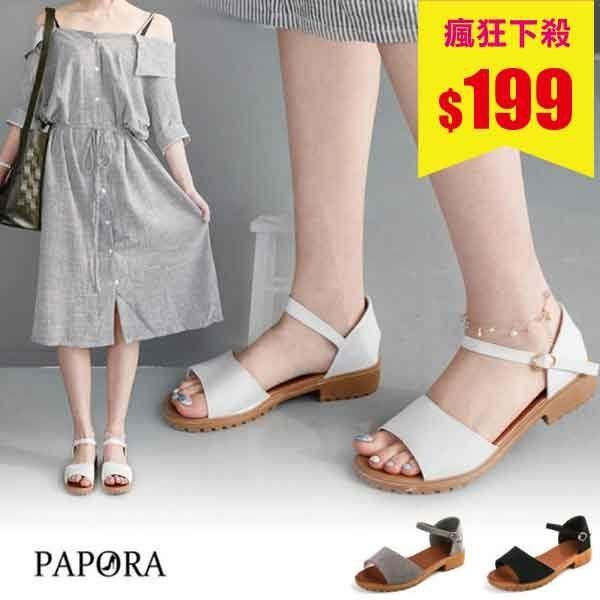 露趾寬板帶低跟涼鞋(3色)